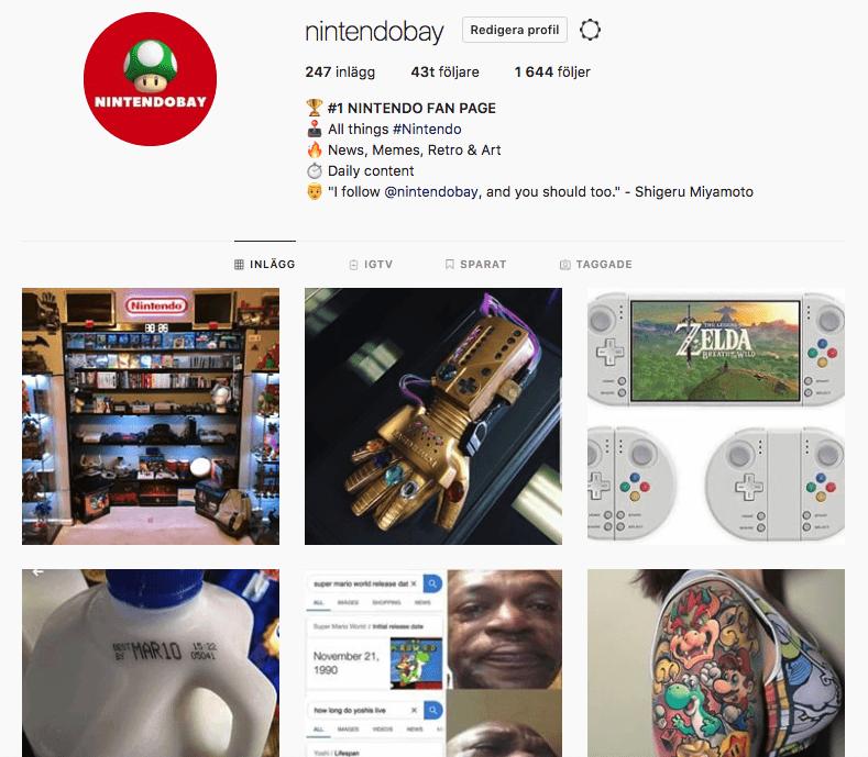 Nintendobay Instagram account screenshot